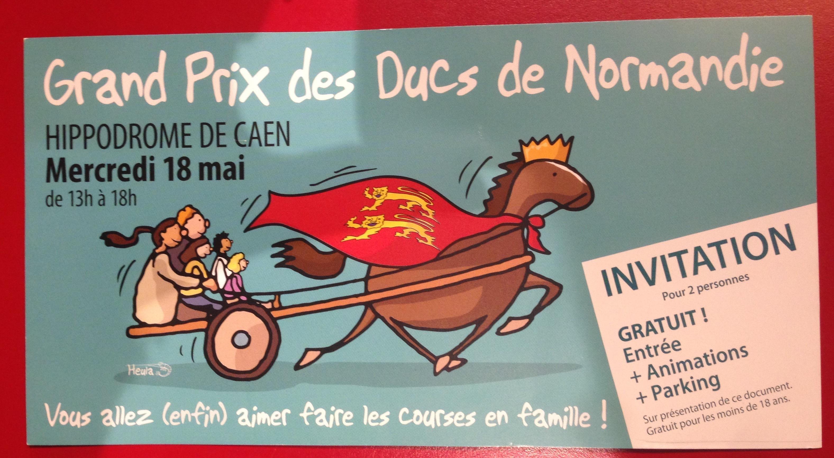 Invitation gratuite  pour 2 personnes au Grand Prix des Ducs de Normandie à Caen le mercredi 18 Mai 2016