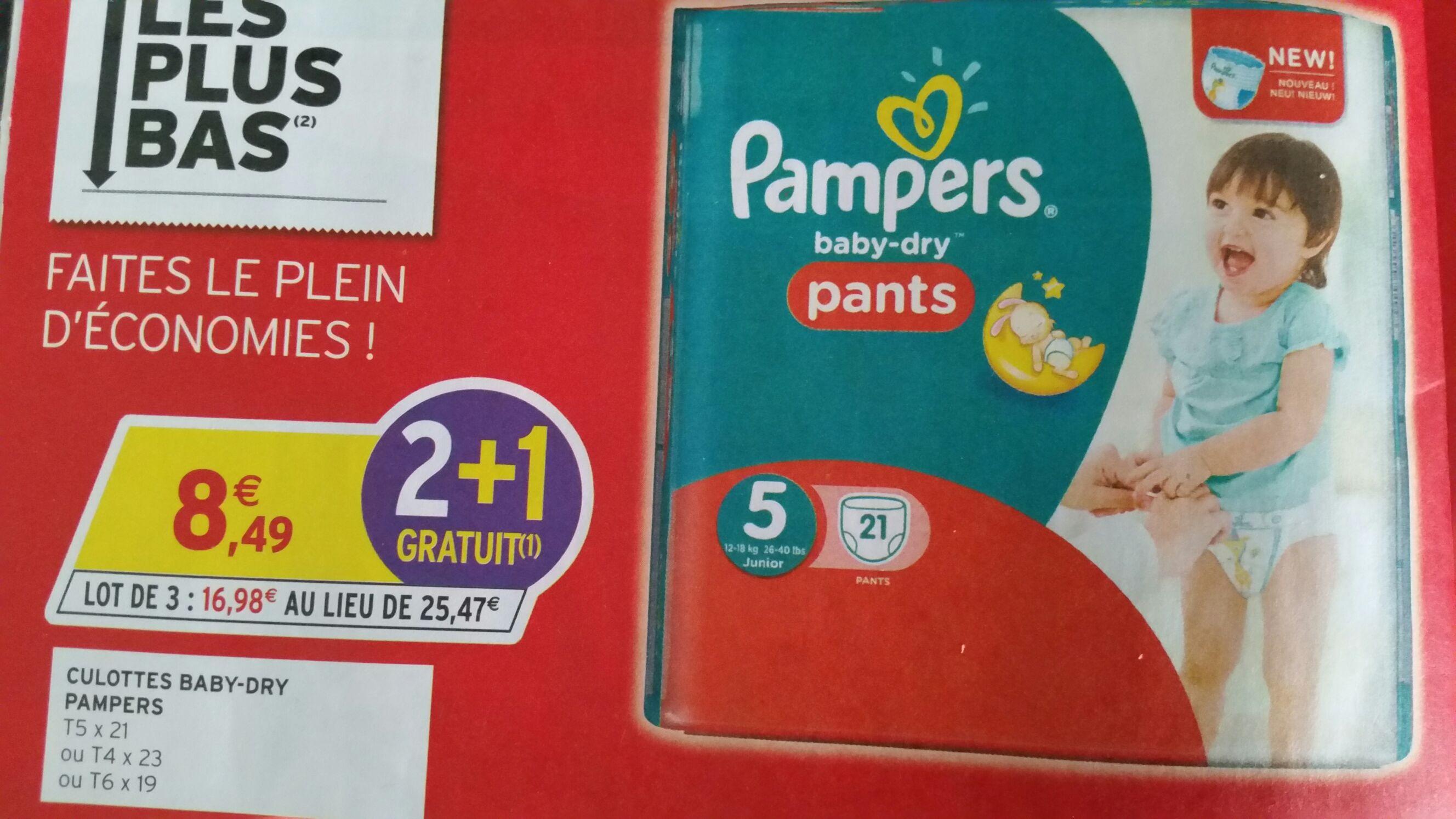 Lot de 3 Packs de 21 couches Pampers Baby Dry Pants (via appli Coupon Network)