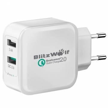 Chargeur BlitzWolf (QC2.0 + 2.4A 30W) - Double USB, Blanc ou Noir