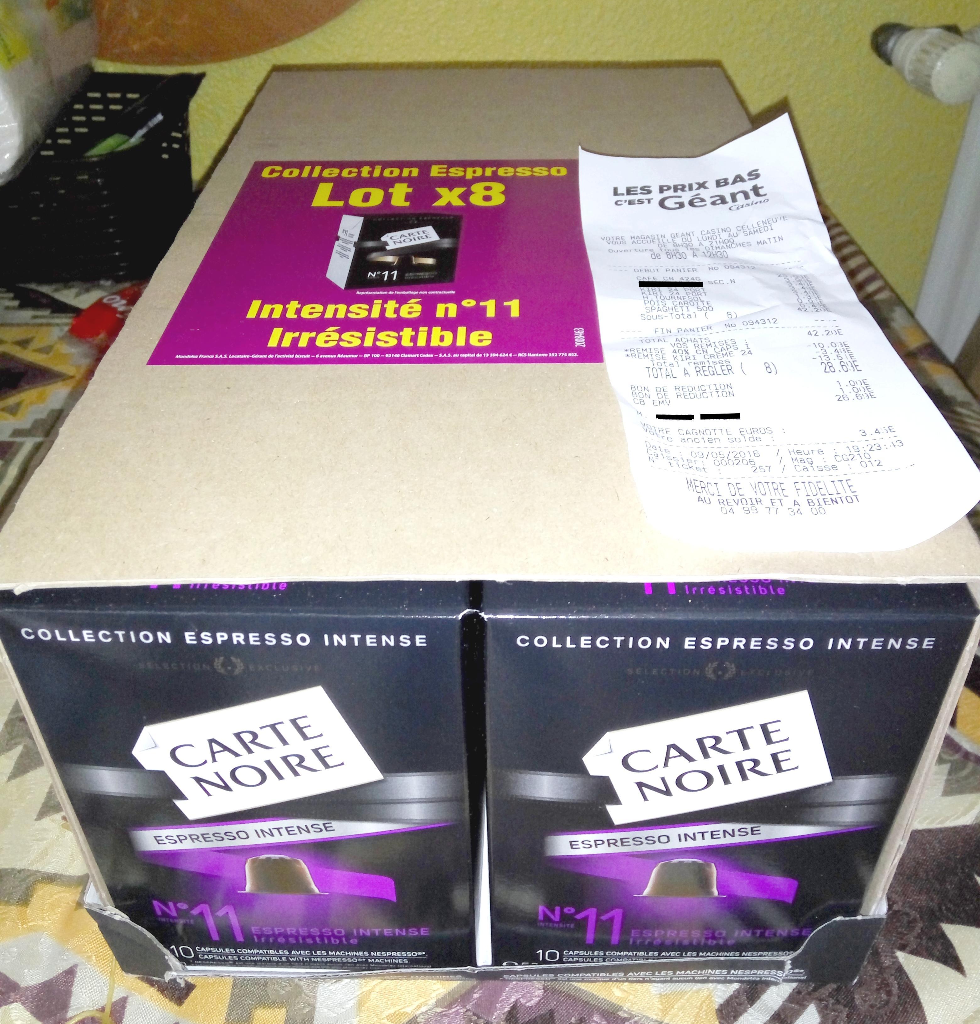 8 Boites de Capsules de café Carte Noire Nespresso (via 40% remise immédiate en caisse + BDR)