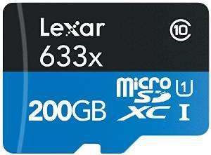 Carte MicroSDXC Lexar633x Classe 10 - 200 Go + adapateur USB