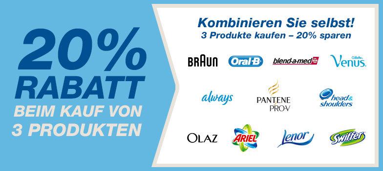 -20% sur des produits d'hygiène, nettoyage... (Oral B par exemple) et autres, à partir de 3 articles commandés