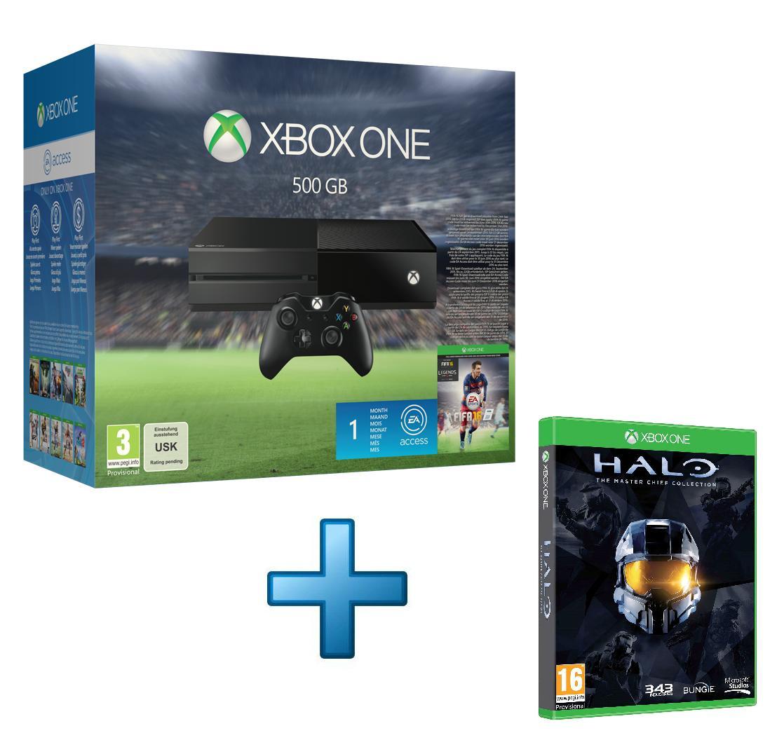 Sélection de Packs Xbox One 500Go à 251.74€ - Ex : Console Microsoft Xbox One 500Go + Fifa 16 + Halo: The Master Chief Collection + 1 Mois EA Access