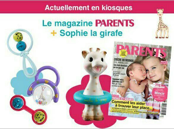 Magazine Parents (juin) + anneau de dentition ou hochet Sophie La Girafe offert