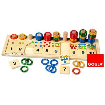 Jouet anneaux colorées chiffres et quantités