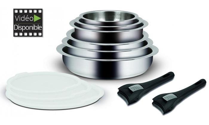Batterie de cuisine 11 pièces Backen Switch - Inox 18/10 à poignées amovibles et couvercles PVC
