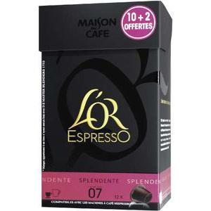 Boîte de 12 capsules de café Splendente L'Or Espresso gratuite (via 0.75€ sur la carte + BDR)