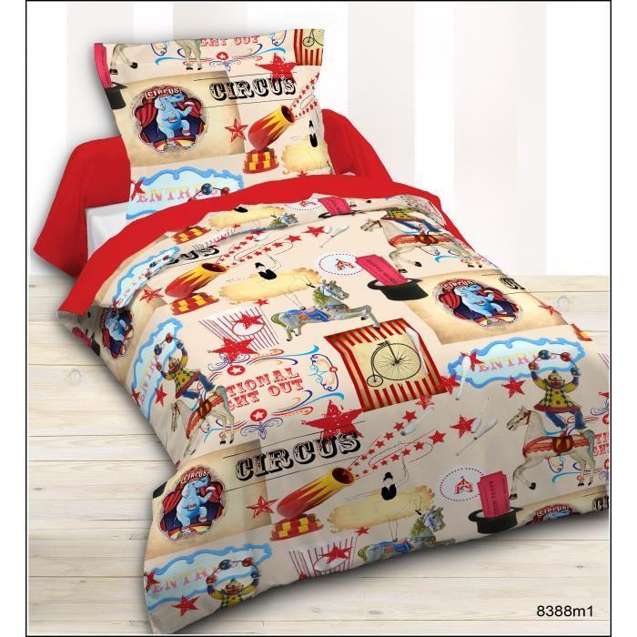 Parure de couette enfant Circus 100% coton - 1 Housse de couette 140x200cm + 1 taie d'oreiller 63x63cm - Beige et rouge