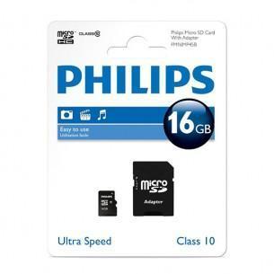 Carte microSDHC Philips Ultra Speed Classe 10 - 16 Go + Adaptateur SD