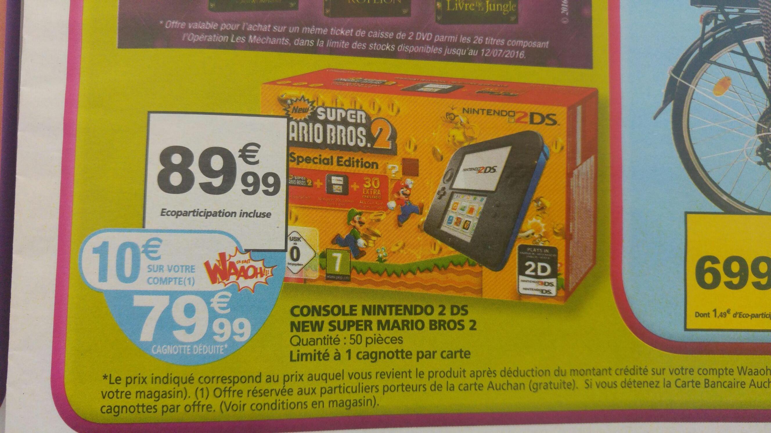 Console Nintendo 2DS + Super Mario Bros 2 (avec 10€ sur la carte)