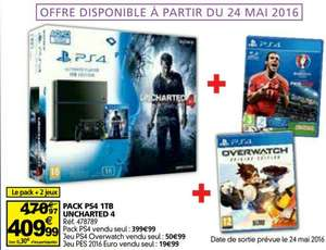 Pack Console PS4 1To Uncharted 4 + Overwatch + PES Euro 2016 en ligne et en magasin