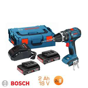 Perceuse à percussion 18V Bosch Pro  - 2 bat Li-ion 2Ah + chargeur + L-Boxx