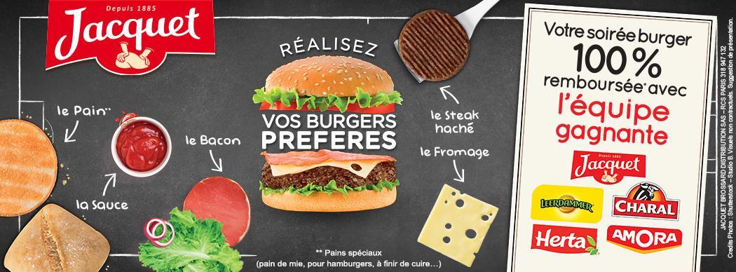 Lot de 5 produits Burgers gratuits (100% remboursés via ODR)