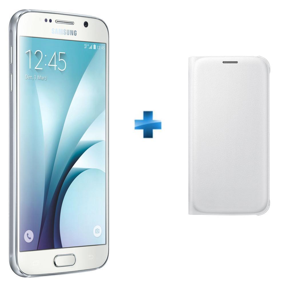 """Smartphone 5.1"""" Samsung Galaxy S6 - 64 Go, blanc + étui Flip wallet Galaxy (via ODR de 100€)"""