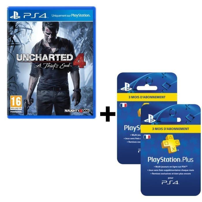 Pack Uncharted 4 + Abonnement PlayStation Plus 6 mois