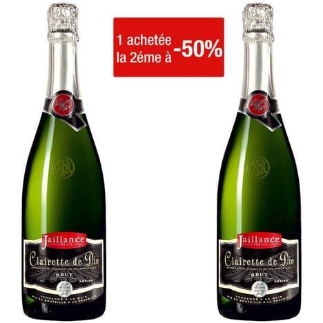 50%  de réduction sur la deuxième bouteille d'alcool achetée (parmis une sélection) - Ex : Jaillance Clairette de Die Brut