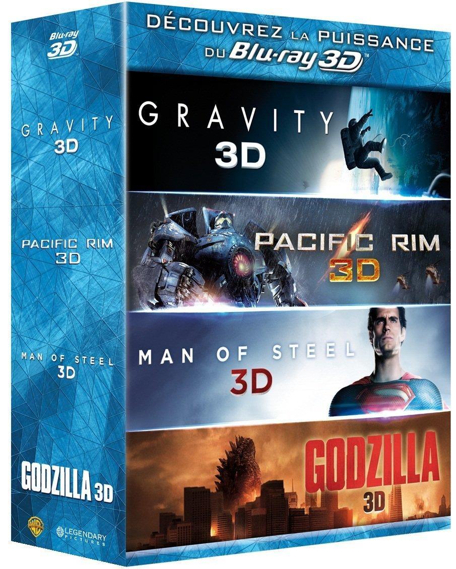 Coffret Blu-ray 3D Godzilla + Gravity + Man of Steel + Pacific Rim