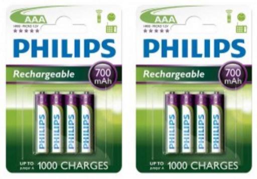 Pack de 8 accus AAA rechargeables Philips - 700 mAh