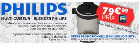 Robot Cuiseur Philips HR2206/80 - Métallisé, 1000 W (via ODR de 40€)