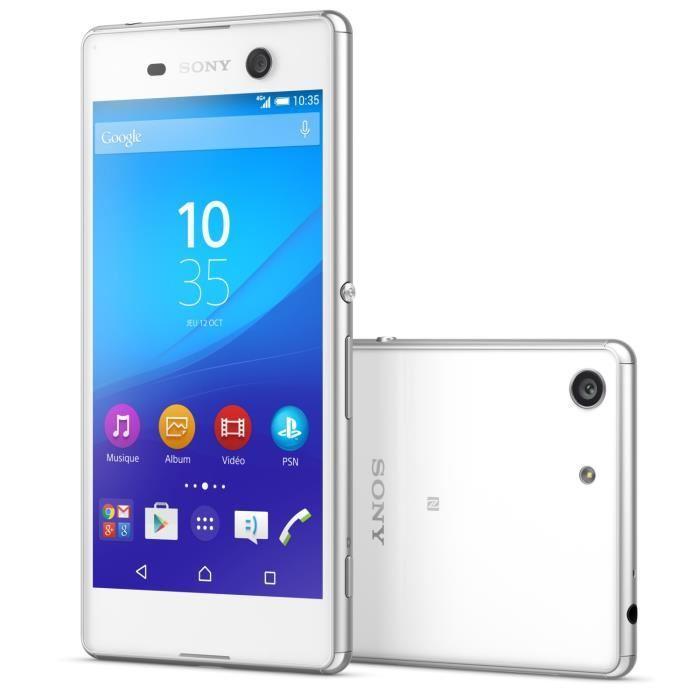 """Smartphone 5"""" Sony Xperia M5 - Double SIM, Blanc (via ODR de 100€)"""