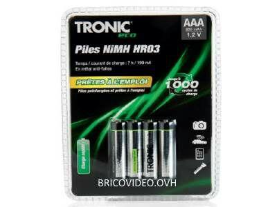 Lot de 4 piles Tronic Rechargeables FAD NiMH - HR03 ou HR06