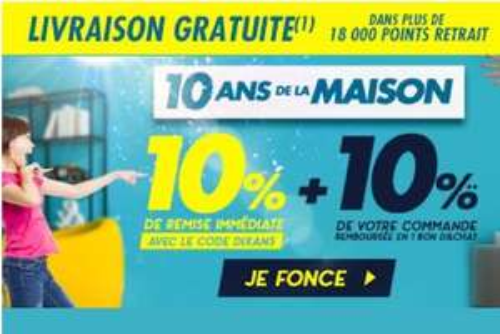 10% de réduction + 10% remboursés en bon d'achat sur les rayons Meuble, Literie, Décoration et Jardin