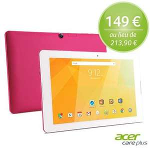 "Tablette tactile 10.1"" Acer Iconia One 10 - 32 Go, rose (+ 3 ans de garantie)"