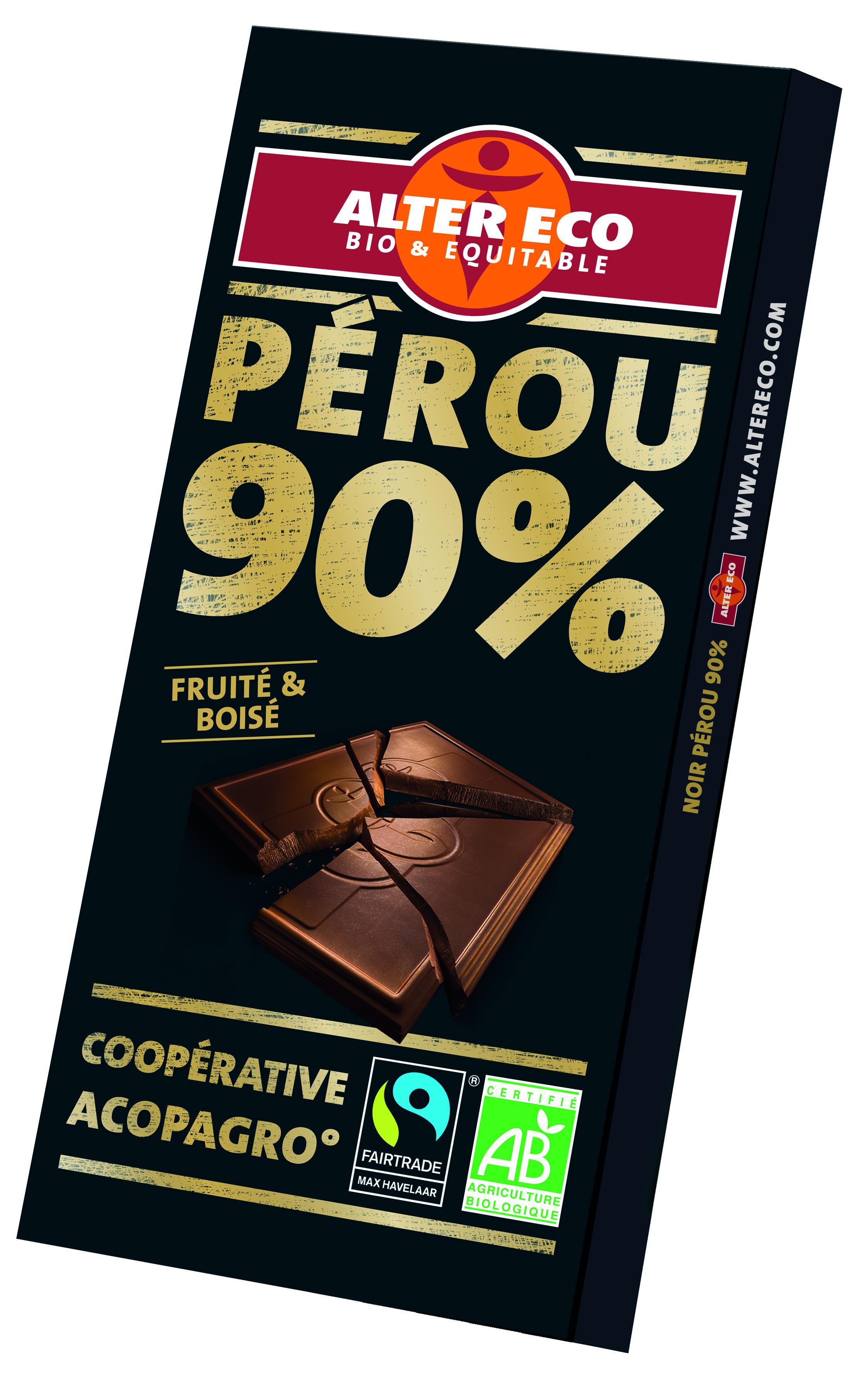 Chocolat Noir du pérou Bio et Equitable - 90% de cacao