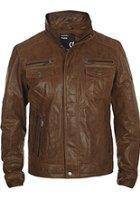 Veste en cuir véritable Solid pour Hommes (couleur Cognac et Tabac)