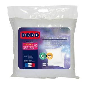 Lot de 2 oreillers Dodo anti-acariens et anti-moustiques (60 x 60cm)