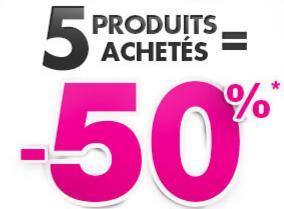 50% de réduction dès 5 articles achetés parmi une sélection