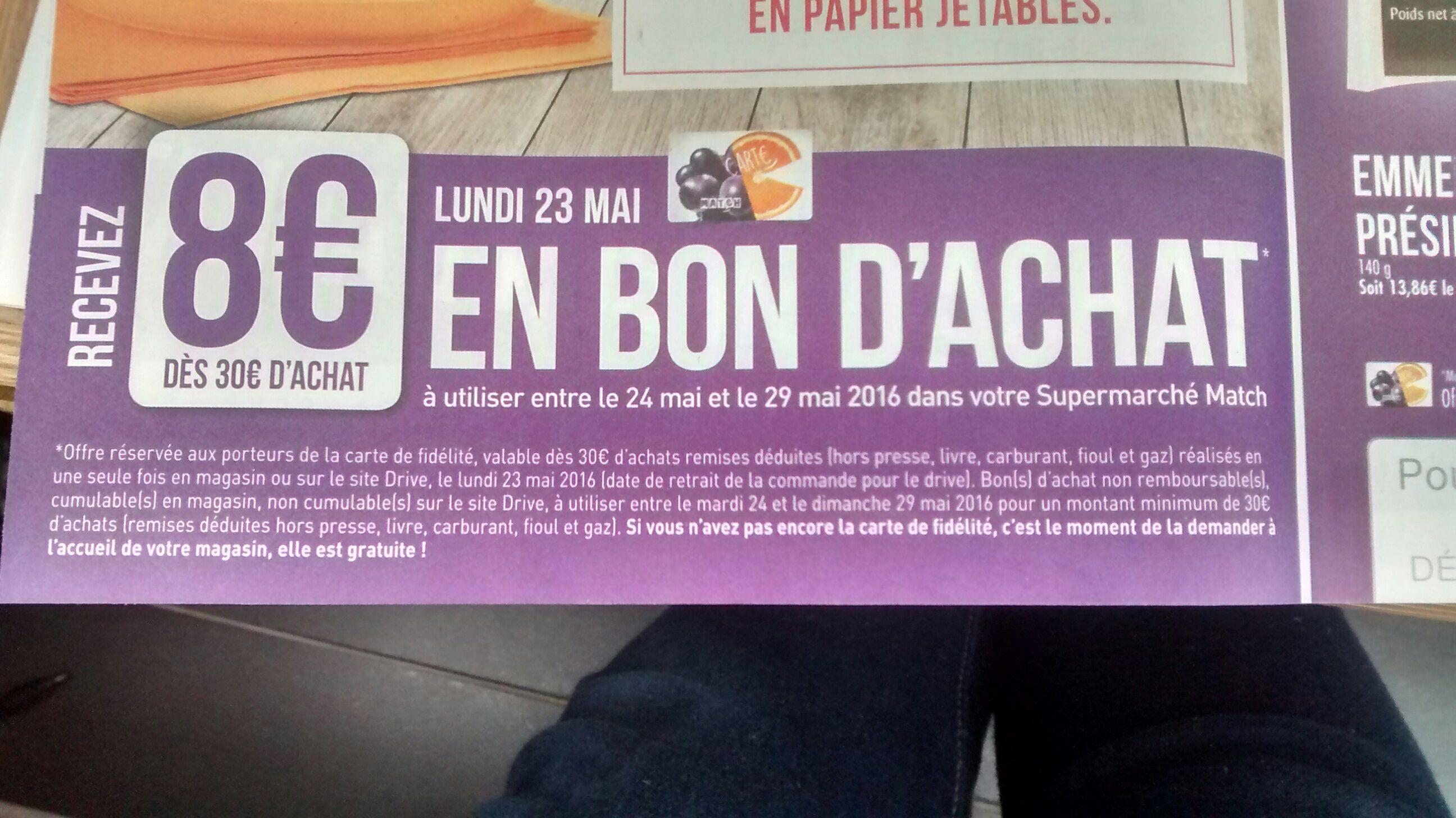 Bon d'achat de 8€ offert à partir de 30€ d'achats (valable pour achat de 30€)