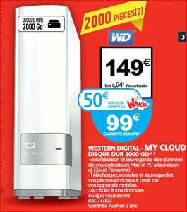 NAS Western Digital My Cloud 2 To (avec 50€ sur la carte)