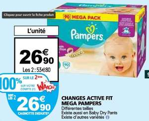 2 paquets de couches Pampers Active Fit ou Pants (avec 26.90€ sur la carte Waaoh + BDR)
