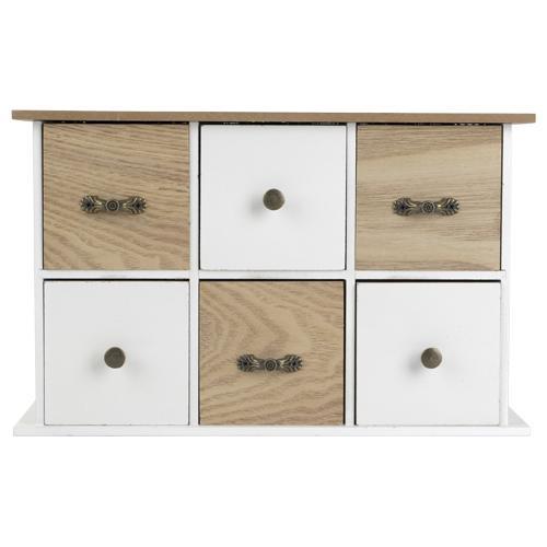 Commode à 6 tiroirs - plusieurs couleurs au choix (29 x 9 x 18cm)