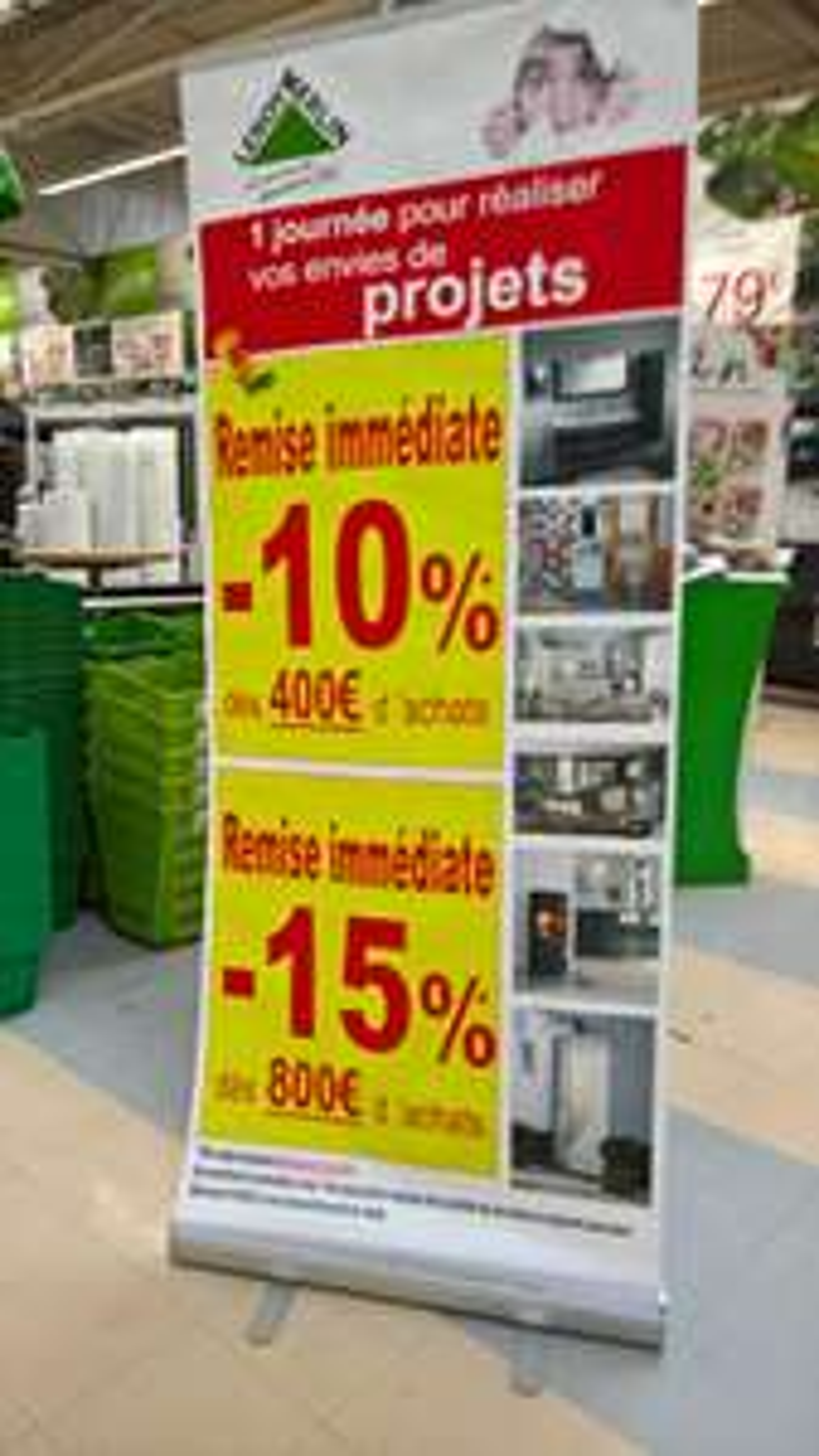 10% dès 400€ ou 15% dès 800€