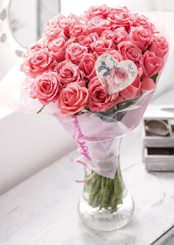 Bouquet de 30 roses gros boutons - Tige 50cm