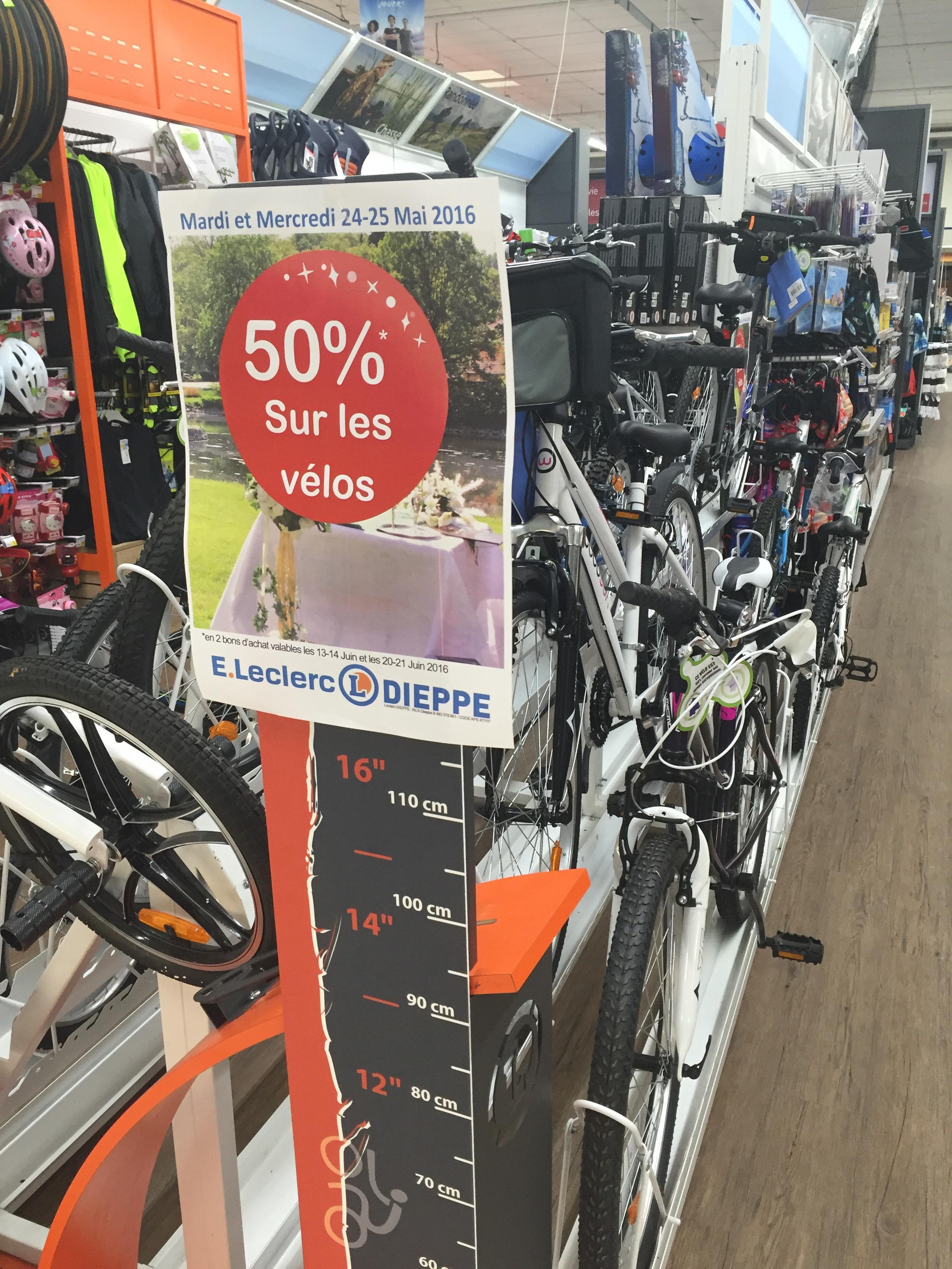 50% remboursés en 2 bons d'achat sur tous les Vélos