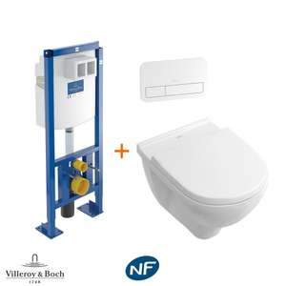 Pack complet bâti WC Villeroy & Boch Prêt à installer - Cuvette Auto-nettoyante Directflush