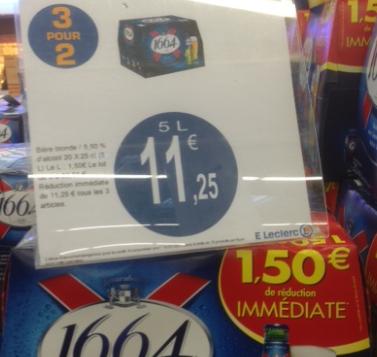 3 Pack de 1664 bière blonde 20x25cl 5,5° soit 15L ( 3 pour 2 & BR )