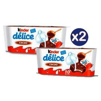 Sélection d'articles en promotion - Ex : lot de 2 Kinder Délice - cacao, x 10 (via 2.64€ sur la carte de fidélité)