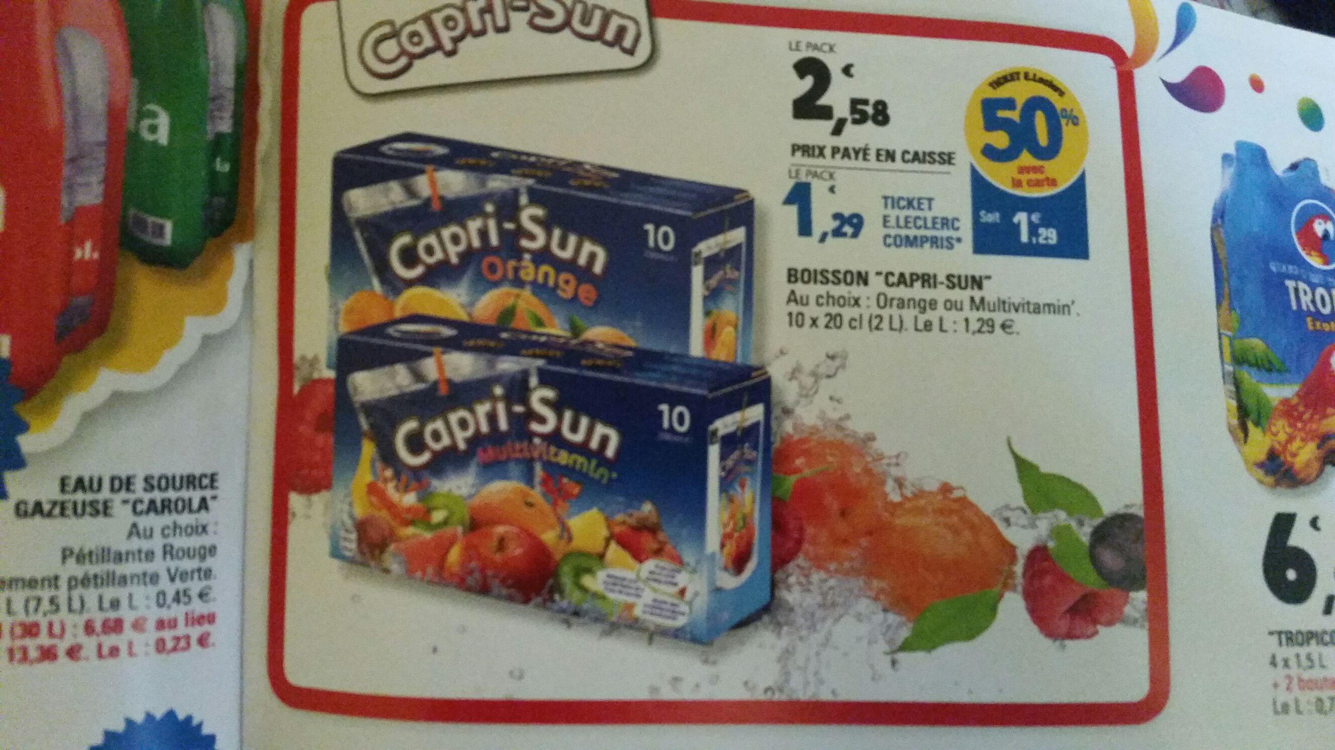 4 Packs de 10 Capri-sun (via 5.16€ sur la carte + BDR)