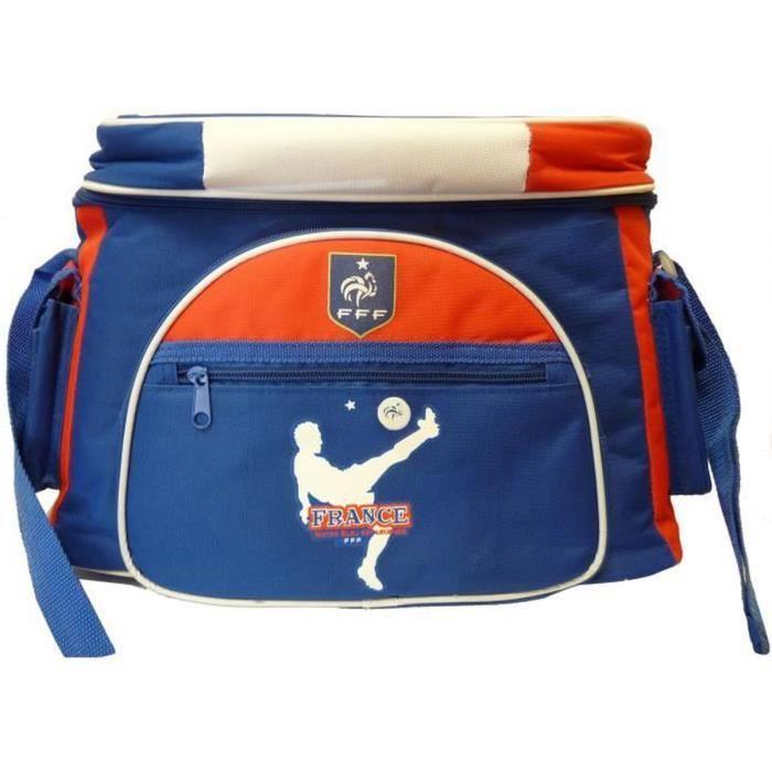 Sac Isotherme Officiel Fédération Française de Football - 17L, Multi-Poches, 17 x 37 x 25 cm, Bleu Blanc Rouge
