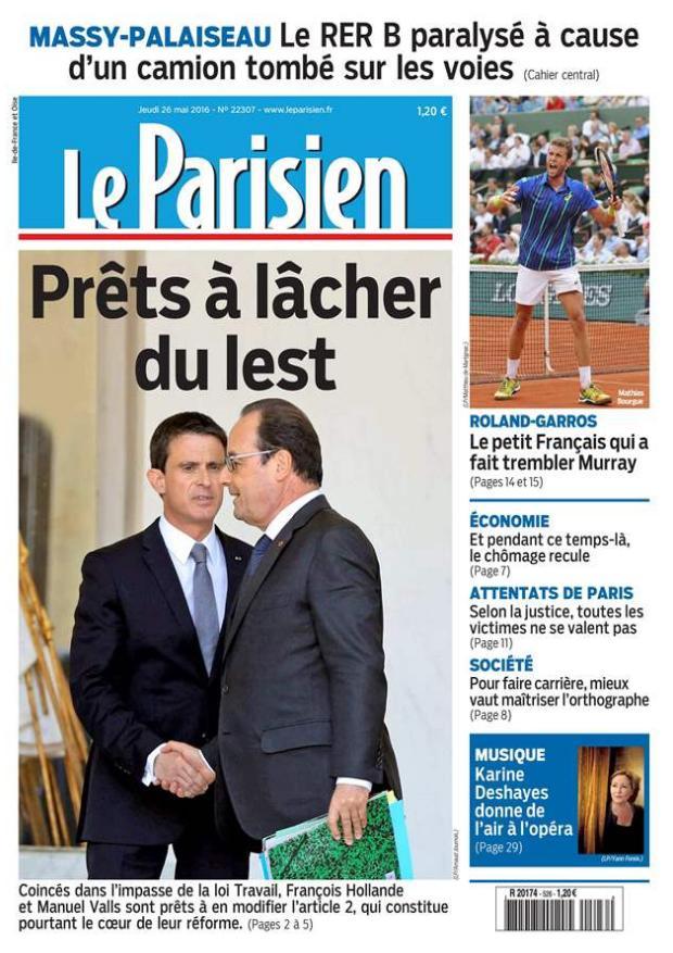 Journal Le Parisien (édition numérique) du  Jeudi 26 mai 2016 gratuit