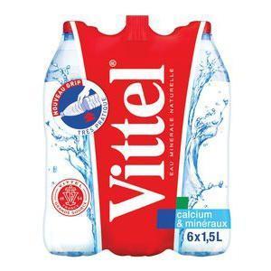 4 Packs de 6 bouteilles (1.5L) d'eau minérale Vittel