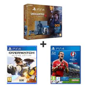 Console Sony PS4 1To Edition limitée + Uncharted 4 : A Thief's End + Overwatch + UEFA Euro 2016