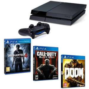 Pack Console Sony PS4 1 To chassis C + Uncharted 4 : A Thief's End + Call of Duty Black Ops III + Doom