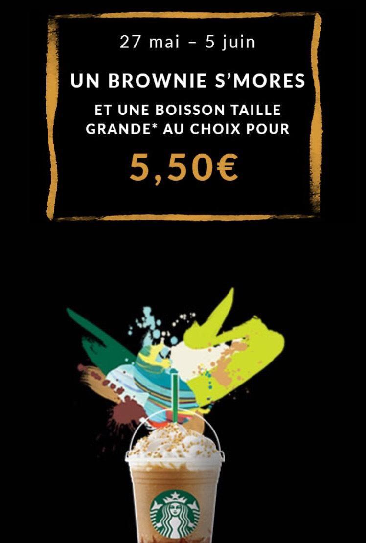 Brownie S'mores + Boisson Grande au choix (en payant avec la carte fidélité ou l'application)