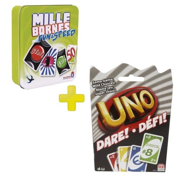 Pack jeux de société Mille Bornes: Fun & Speed + Uno: Dare! Défi! + Hot Wheels GMC Motorhome