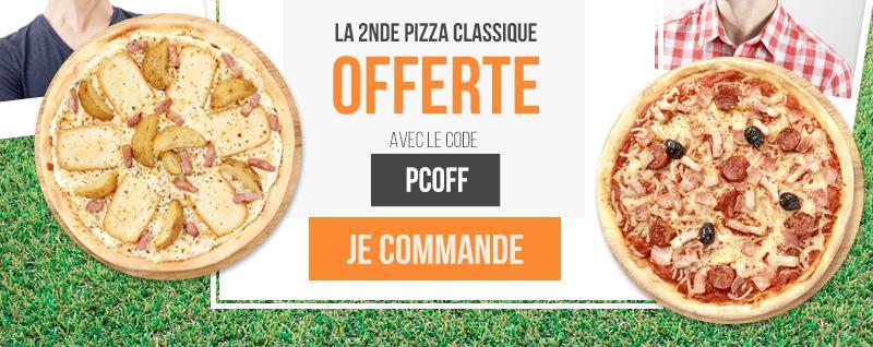 1 pizza classique achetée = 1 pizza classique offerte